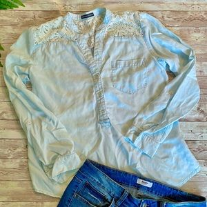 Chelsea & Theodore Lace & Chambray Button Down